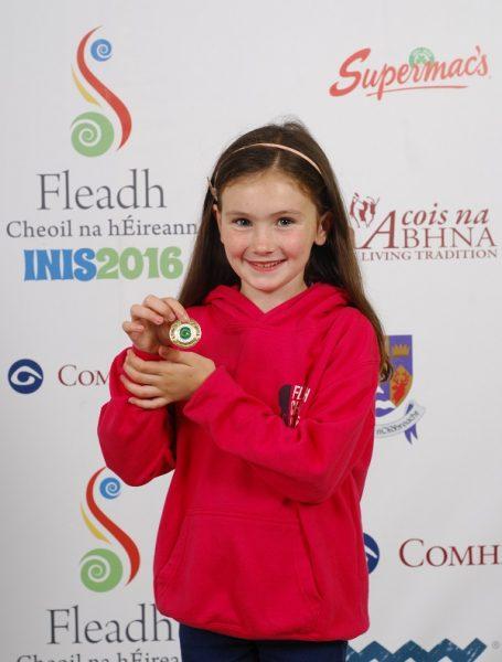 Laoise Ni Chinneide of Nenagh, Tipperary, who came second in the Comhra Gaeilge U-9 category at the 2016 Comhaltas Ceoltóirí Éireann All Ireland Fleadh Cheoil in Ennis. Photograph by Loretto O Loughlin/www.instantimageireland.com.