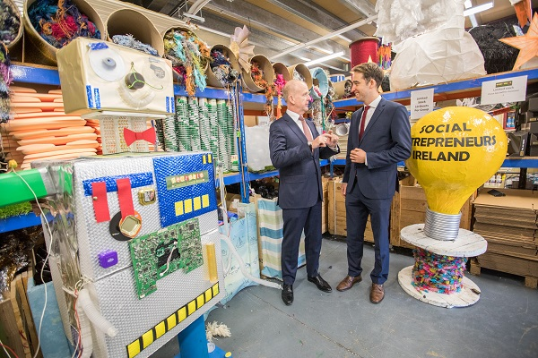 Picture shows at the launch of the 2017 Social Entrepreneurs Ireland Awards, CEO of Social Entrepreneurs Ireland,(right)Darren Ryan gives Tommy Breen,(left) CEO of DCC plc a tour of the ReCreate Warehouse. ReCreate was a 2016 SEI Award Winner. Social Entrepreneurs Ireland is making funding and support available to people with ideas to solve social problems in Ireland and is calling for applications. The SEI Awards are supported by DCC plc.Pic:Naoise Culhane.