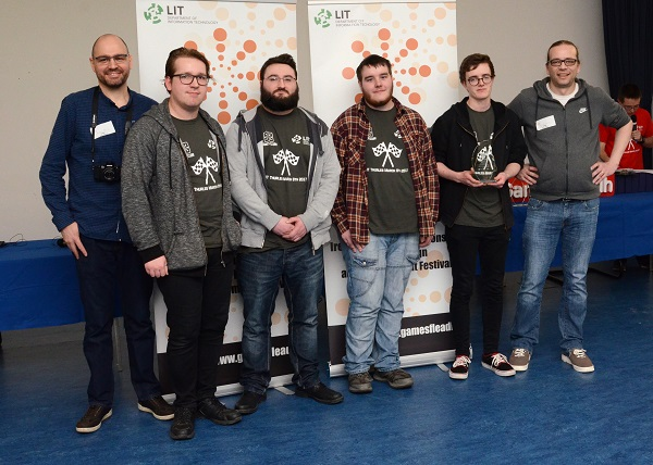 "Second Year LIT Game Development students win Best in Game Design with their game ""I Wanna Be A Racing Game"" at Games Fleadh 2017 which took place on the LIT Thurles Campus. They are presented with their trophy by Stephanus Meiring and Ingo Schumacher from EA Galway. Photographed Left to Right: Stephanus Meiring EA, Alexander McAlister (Thurles, Co Tipperary), Nathan Dunne (Dundrum, Co Tipperary), Luke O Neill (Clonoulty, Co Tipperary), Eoghain McGrath (Beara, Co Cork), and Ingo Shcumacher EA."