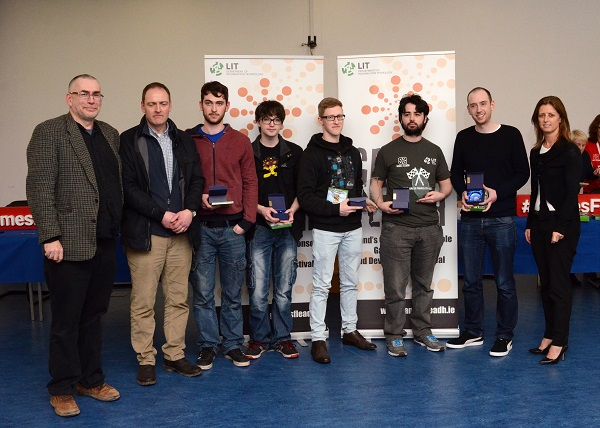 "UL students were presented with their Games Studio Challenges award for their game ""Trash Team Racing"" by Ms. Janice O'Connell, Head of the Dept of IT, Limercik IT at Games Fleadh 2017 which took place in the LIT Thurles Campus on Wednesday March 8, 2017. Photographed with Ms O'Conell are Dr Chris Exton UL Lecturer, Clem O'Donnell UL ICT Learning Manager, David Ryley, Christopher Brady, David Ryan, Joseph Greaney and Shane O'Malley."