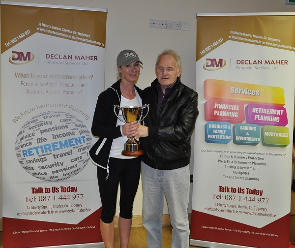 Paddy Dolan presenting Carmel Fitzgibbon with the Paddy Dolan Perpetual Trophy