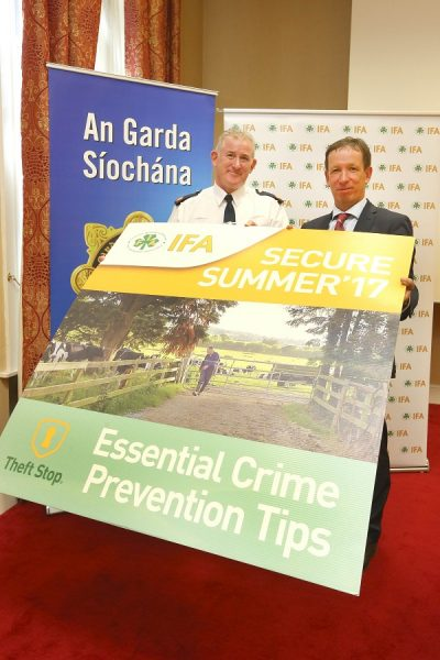 Pat Leahy, Assistant Garda Commissioner and Jer Bergin, IFA National Treasurer launching the IFA Secure Summer Campaign to tackle rural crime.