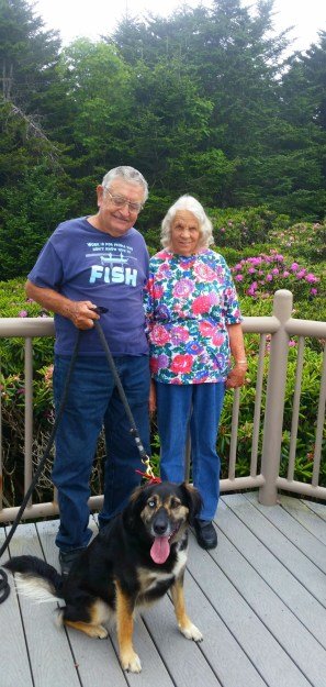 Mom, dad, and Tippy at the overlook.