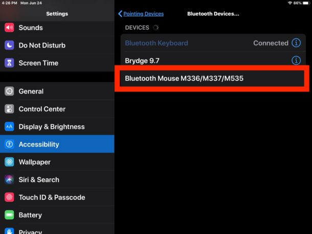 How to connect Bluetooth mouse to iPad