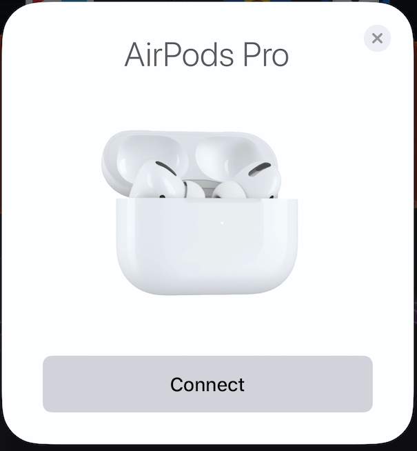 AirPods Pro connection screen