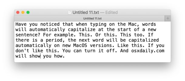 How to Disable auto capitalizing words on Mac