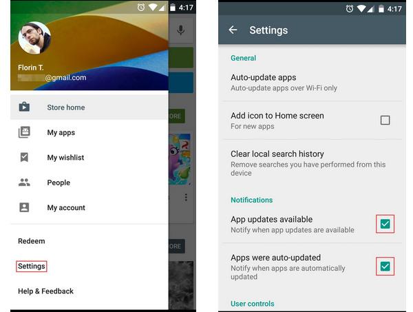 Google Play, Notifikasi update, Aplikasi Android