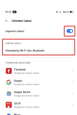 Pastikan Informasi Lokasi sudah Aktif