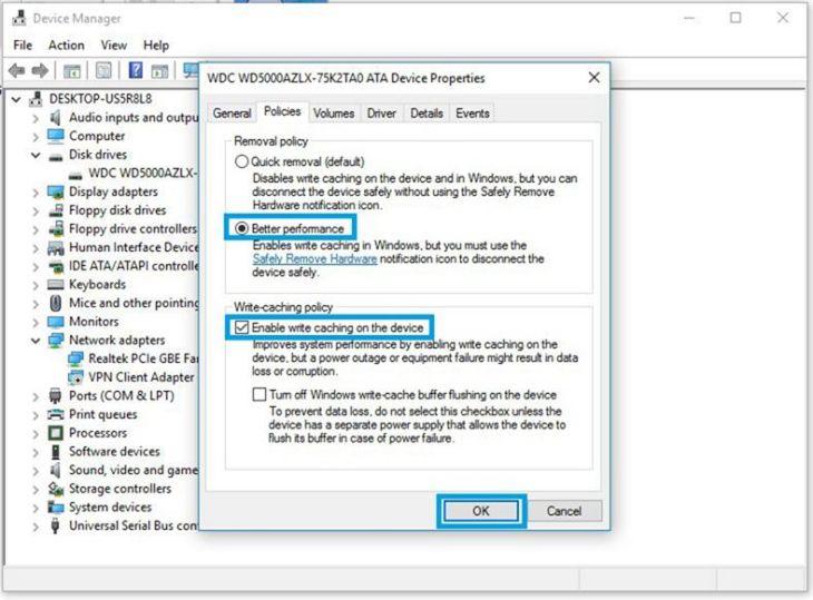 4 Pilih Better Performance kemudian centang Enable write caching on the device selanjutnay tekan tombol OK