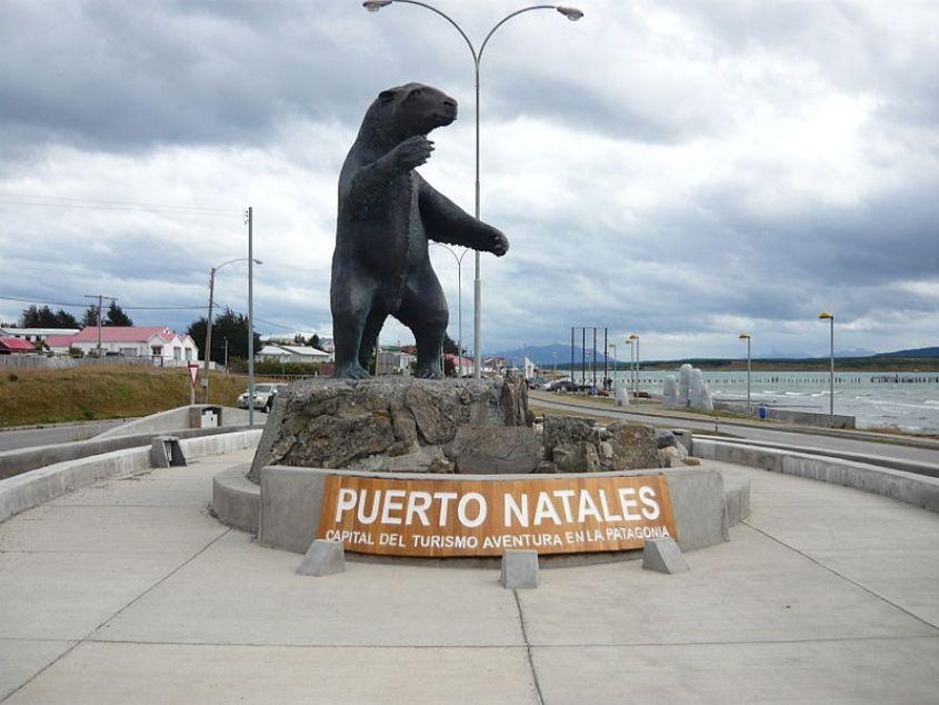 Cartello della città di Puerto Natales