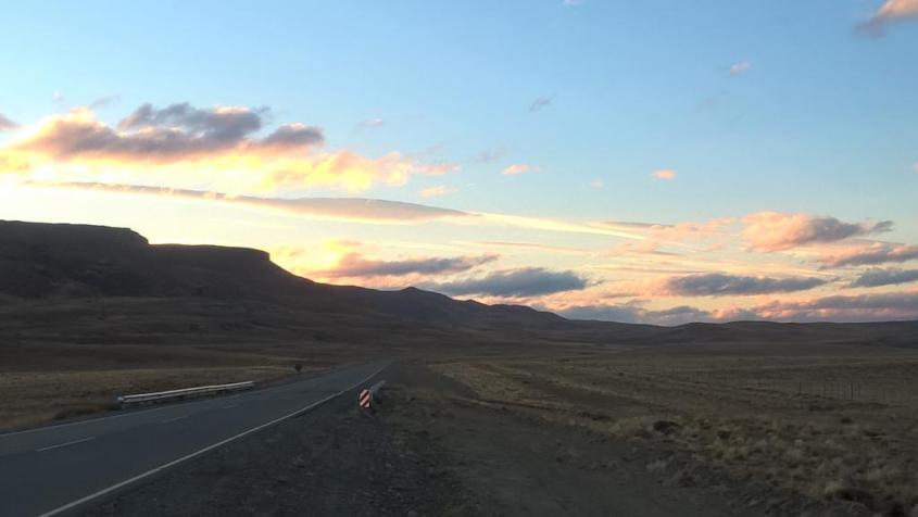 Tramonto sulla strada da El Calafate a El Chalten