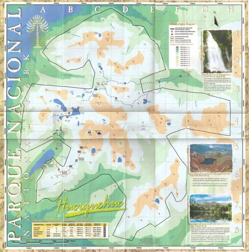 Mappa del Parque Huerquehue a Pucon in Cile