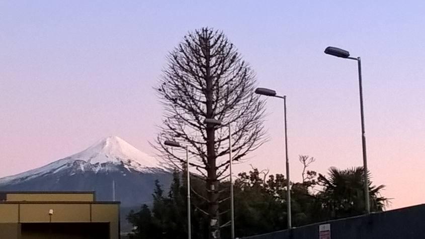Vista del vulcano Villarrica dall'ostello Princesa Insolente di Pucon