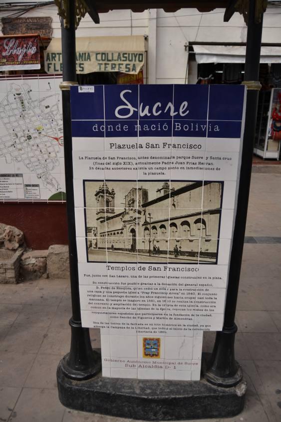 Cartello della città di Sucre in Bolivia