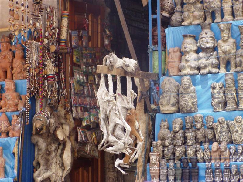Cadaveri di feti di lama al mercato delle streghe di La Paz in Bolivia per la magia nera