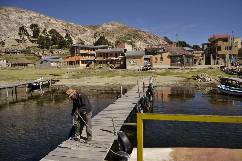 Porticciolo della parte Nord di Isla del Sol sul Lago Titicaca in Bolivia