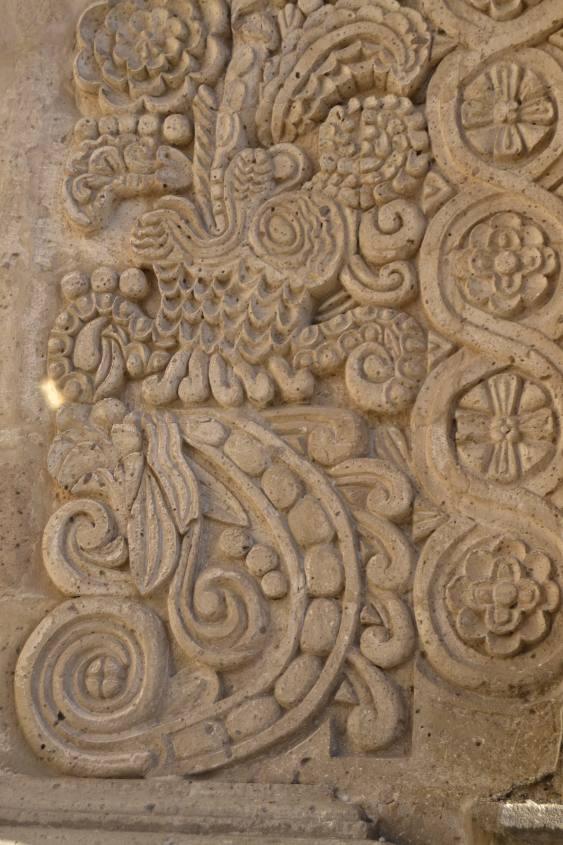 Dettaglio di una colonna all'interno del Chiostro de la Compañia ad Arequipa