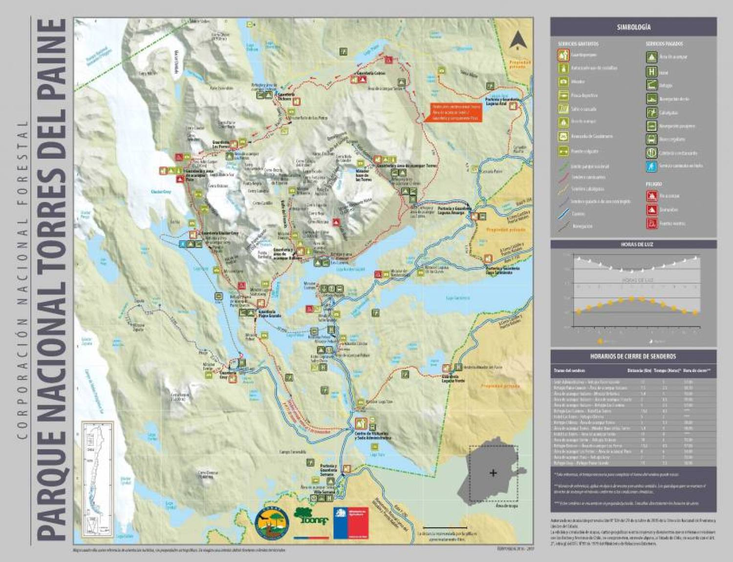 Mappa Torres del Paine