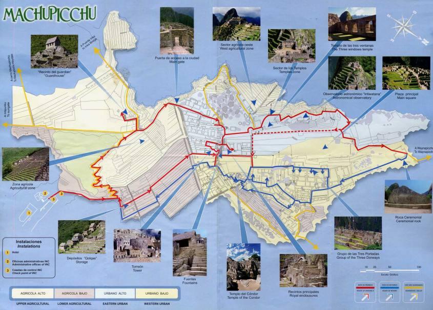 Mappa di Machu Picchu in Perù