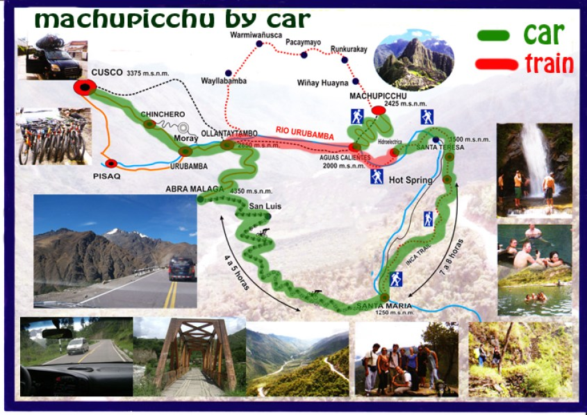 Mappa Machu Picchu con la macchina