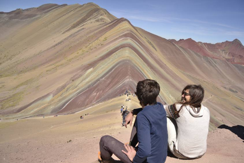 VIsta centrale della indimenticabile montagna Vinicunca/Arcoiris/Colorada in Perù