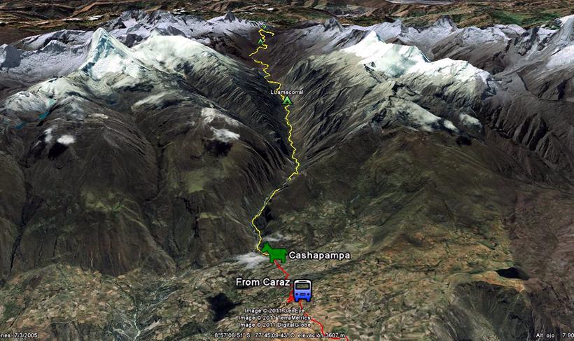 Mappa Tekking Santa Cruz - Giorno 1