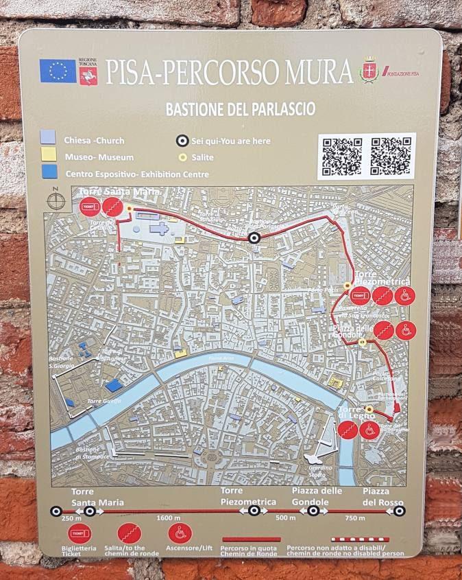 Mappa cartina de Le Mura di Pisa