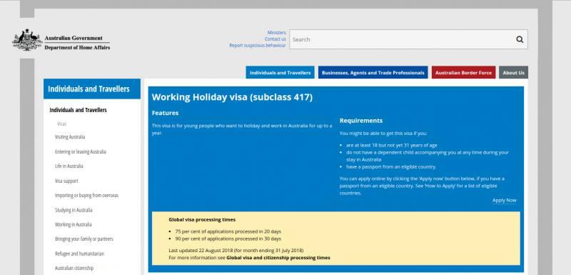 Schermata della pagina internet per la richiesta del Working Holiday Visa Australia