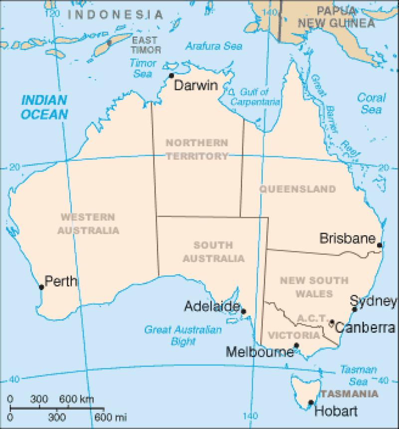 Mappa degli otto Stati dell'Australia