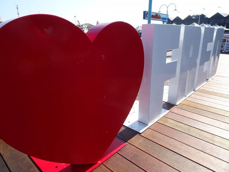 Scritta Freo con cuore a Fremantle a Perth
