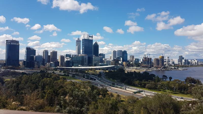 Vista panoramica su Perth e sullo Swan River dal Kings Park