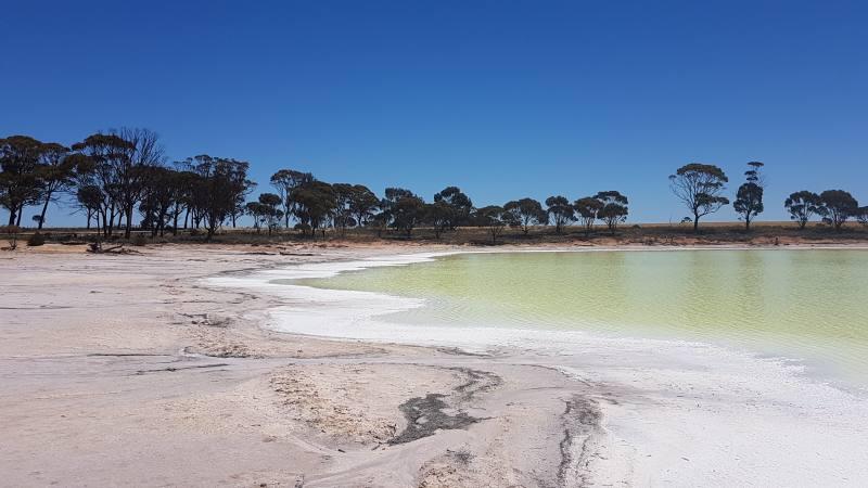 Sosta al Lago Kondinin sulla strada da Perth a Wave Rock