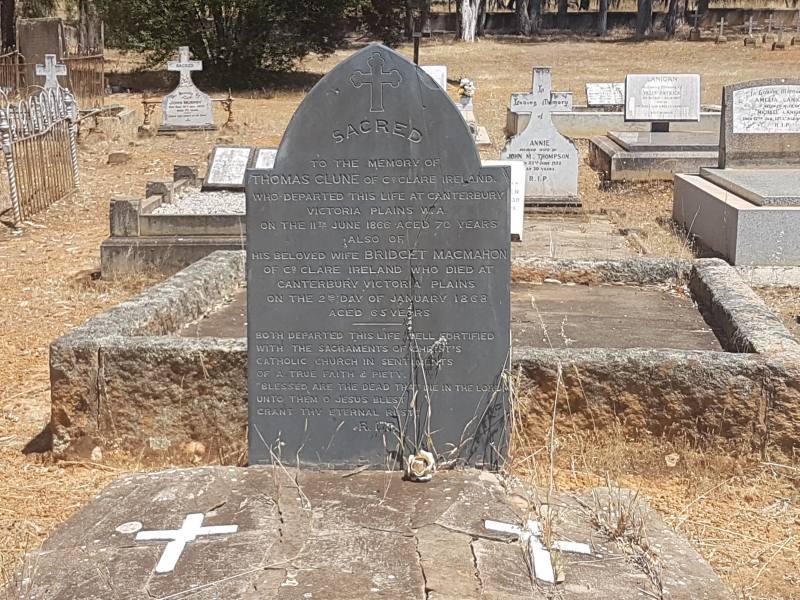 Lapide del 1866 nel cimitero di New Norcia