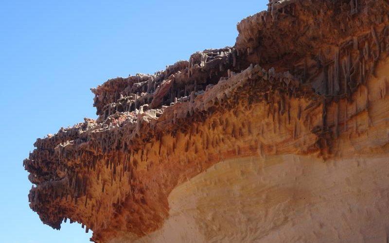 Particolare roccia con tane di vermi preistorici all'interno del Parco Nazionale Kalbarri