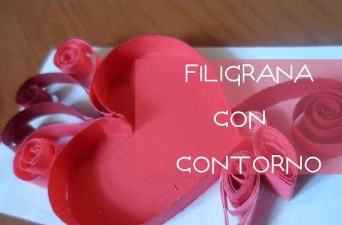 Tarjeta de filigrana con contorno para San valentin