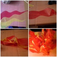 Como hacer una fogata artificial con papel celofán