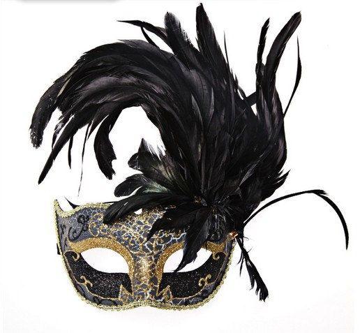 mascara con plumas