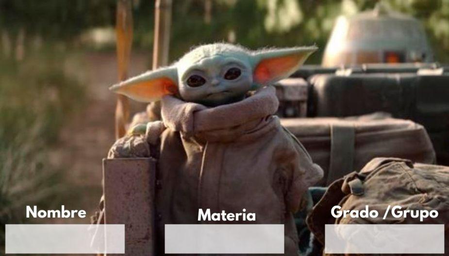 Etiquetas para cuaderno de Baby Yoda