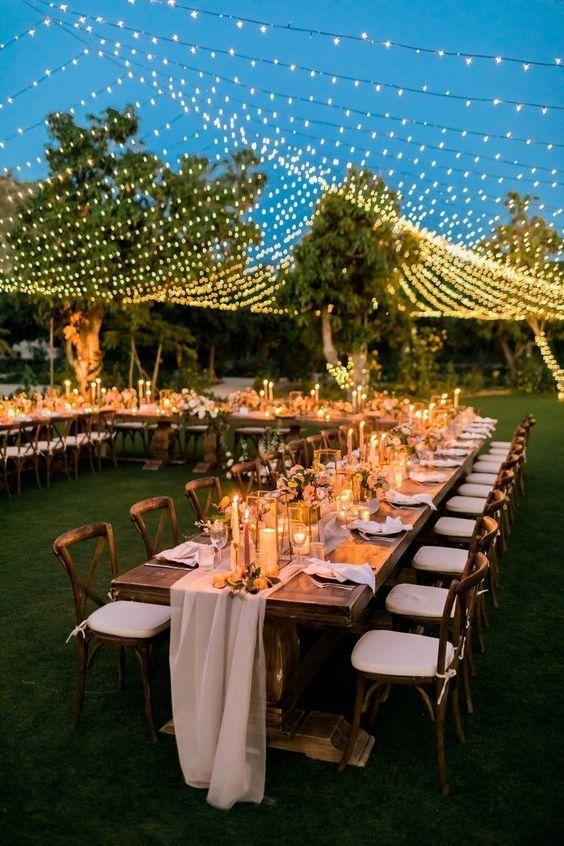 luces para boda en exterior