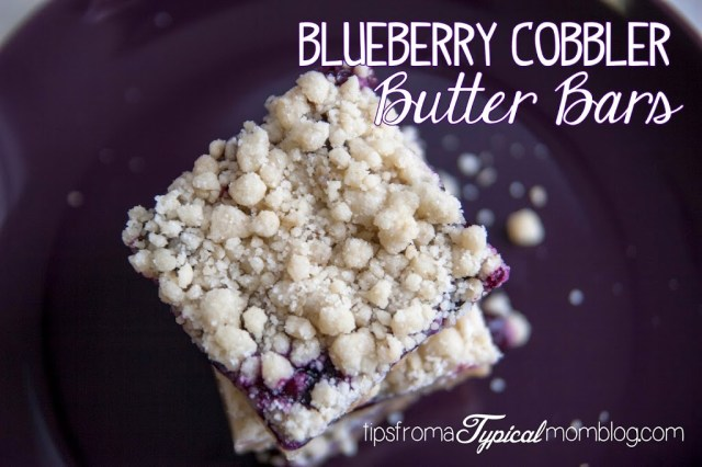 Blueberry Cobbler Butter Bars recipe from Tips From a Typical Mom. These are the perfect mixture of cobbler and butter cookies. So yummy!