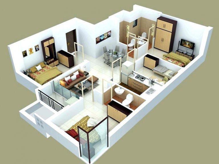 Hình ảnh 1 trong 3 bản vẽ mẫu nhà cấp 4 mái thái có 4 phòng ngủ đẹp và khoa học