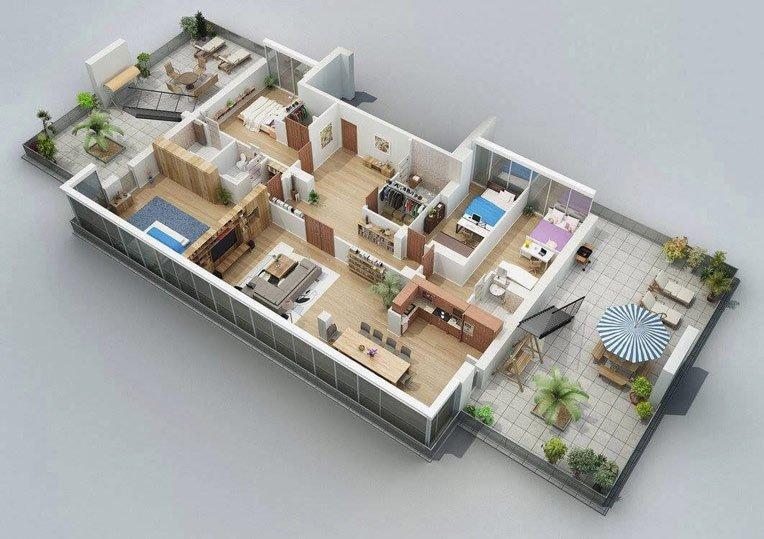Hình ảnh 4 trong 3 bản vẽ mẫu nhà cấp 4 mái thái có 4 phòng ngủ đẹp và khoa học