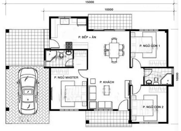 Hình ảnh 8 bản vẽ nhà cấp 4 3 phòng ngủ được bố trí khoa học nhất