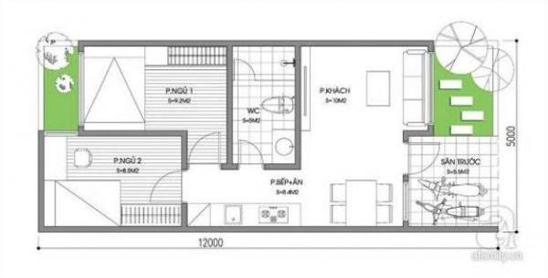 Hình ảnh 5 trong 5 bản vẽ nhà cấp 4 2 phòng ngủ hiện đại