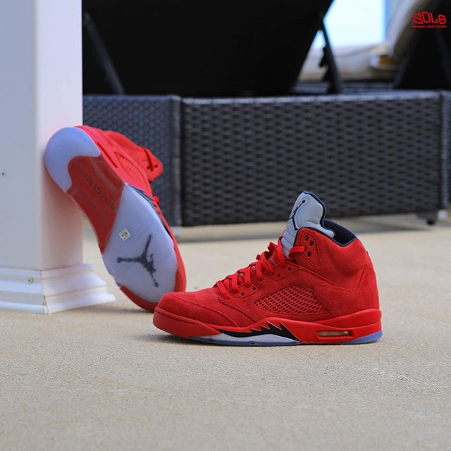 """SP Sole Shouts  Nike Air Jordan  5  V """"Red Suede"""" With Sole ... ae7a2e3a51"""