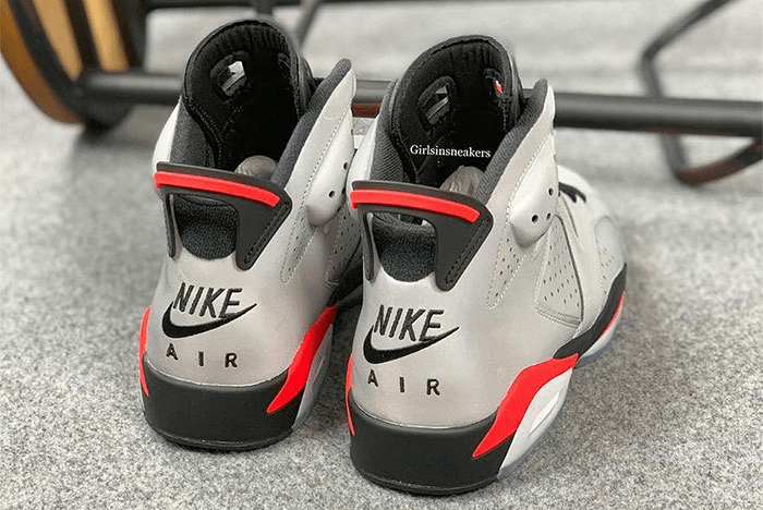 Nike air Jordans 6 Infrared with 3M reflective upper a Nike logo embroidered on the back ankle support via Girlsinsneakers