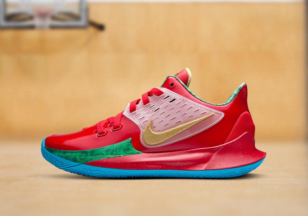 """Picture of the Nike Kyrie Low 2 """"Mr. Krabs"""" shoe."""
