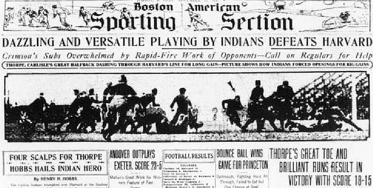 1911 Boston American sports page, Carlisle vs. Harvard