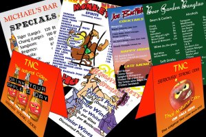 Drink list and table top marketing design