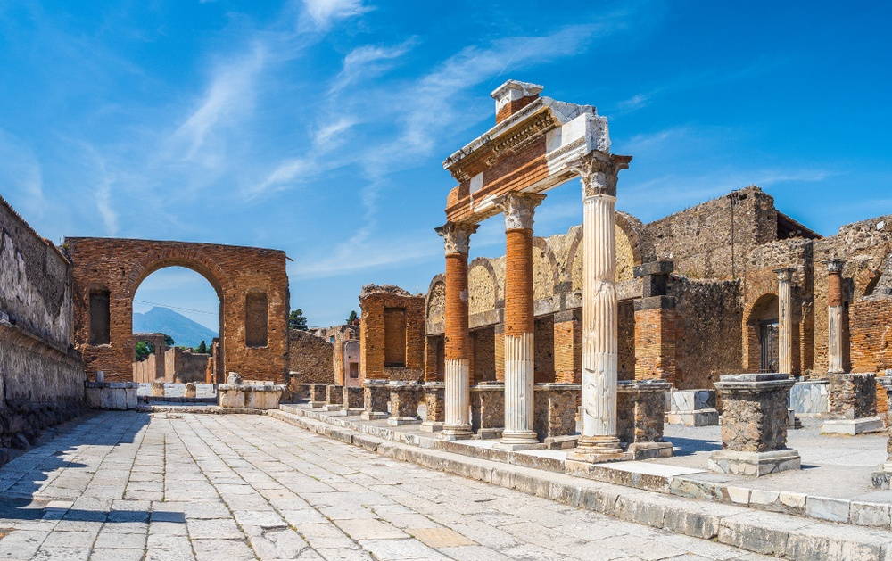 The spectacular Forum of Pompeii, the political, religious, and commercial hub of the ancient city.